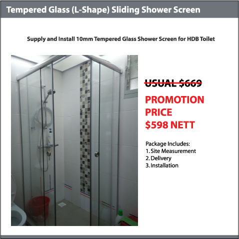 10mm Tempered Glass (L-Shape) Shower Screen