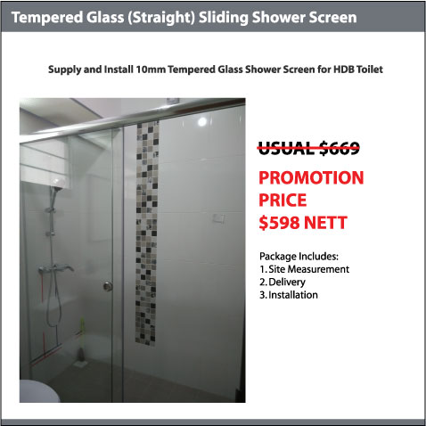 10mm Tempered Glass (Straight) Shower Screen
