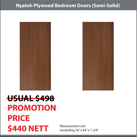 Nyatoh Plywood Doors for 2 Bedrooms