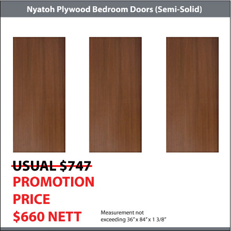 Nyatoh Plywood doors for 3 bedrooms