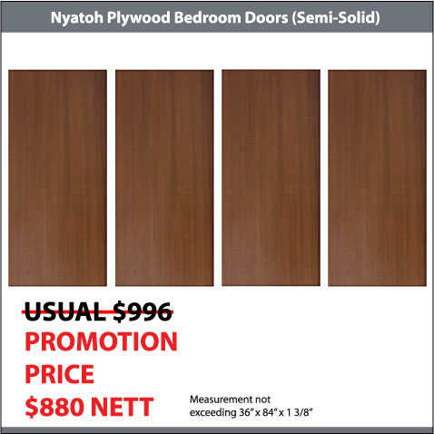 Nyatoh Plywood Doors for 4 Bedroom