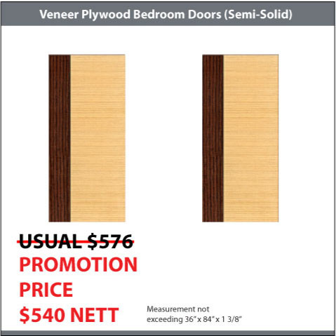 2 Veneer Plywood Bedroom Doors