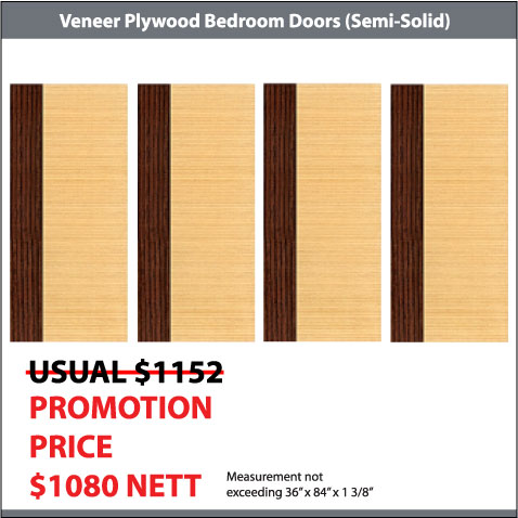 4 Veneer Plywood Bedroom Doors